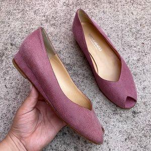 Bruno Magli Magenta Pink Leather Peep-toe Loafer